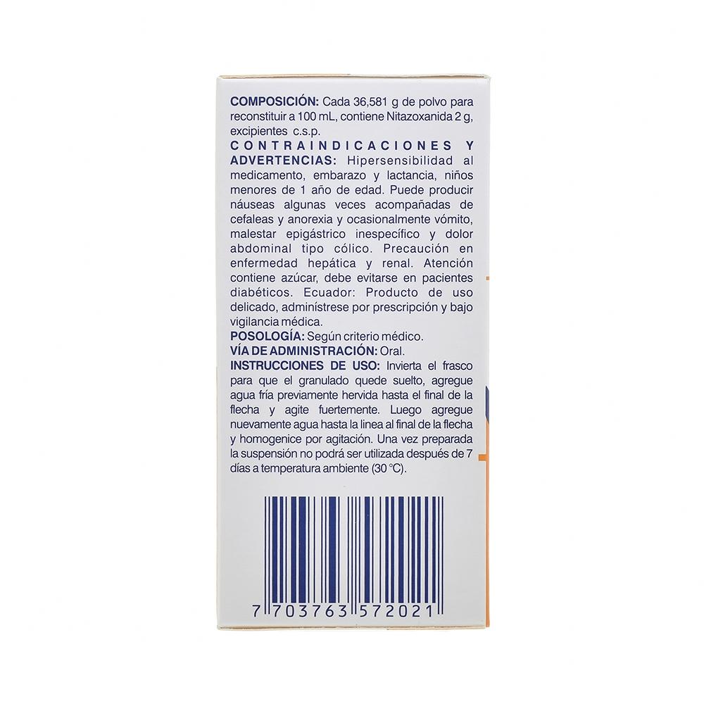 NITAZOXANIDA 100MG/5ML POLVO PARA SUSPENSIÓN X60ML