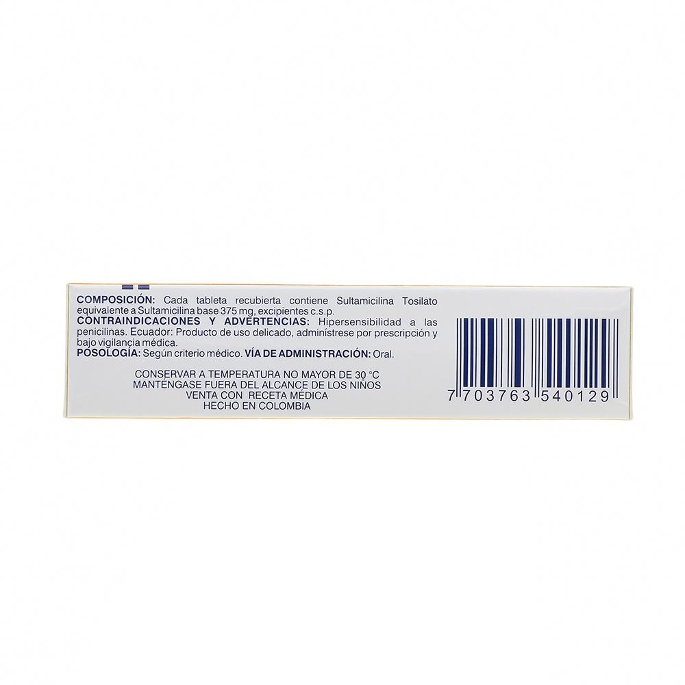 SULTAMICILINA 375MG TABLETAS X10 TAB